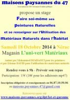 """Stage """"peintures & matériaux naturels"""" par Maisons Paysannes du Lot-et-Garonne - Nérac, samedi 18 octobre 2014"""